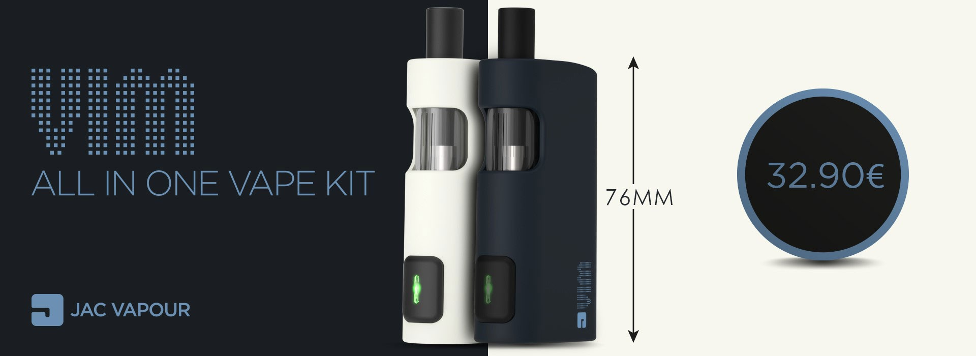 Le kit Jac Vapour VIM est une cigarette électronique tout-en-un légère et ultra-compacte tout en bénéficiant d'une autonomie confortable de 2600 mAh.